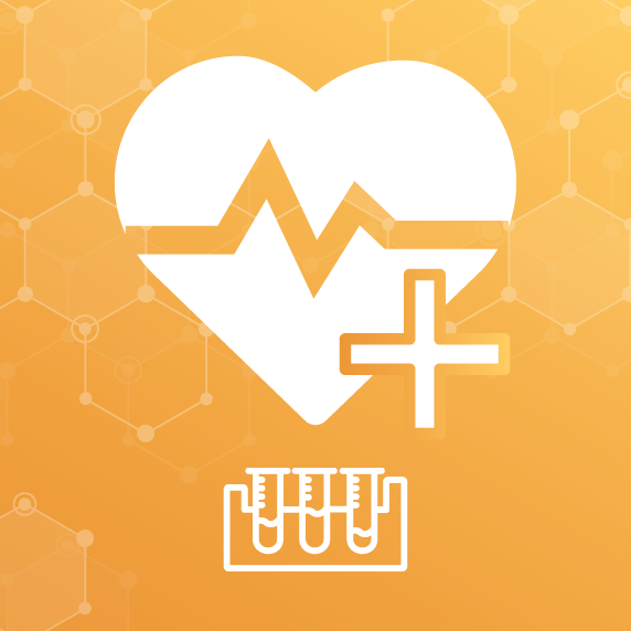Heart with Plus Sign and Test Tubes Graphic