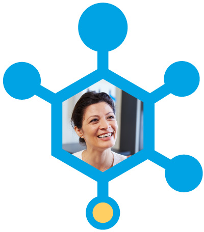 Hexagon Shape with Woman in Center